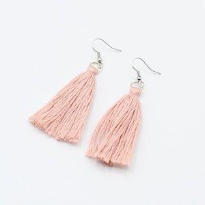 Dusty pink tassel earrings